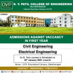 Admission against vacancy for first year